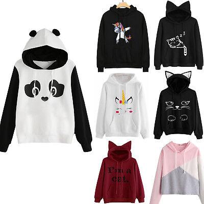 Womens Cat Ear Panda Hoodie Sweatshirt Hooded Pullover Tops Blouse Coat Lovely - Panda Hoodie