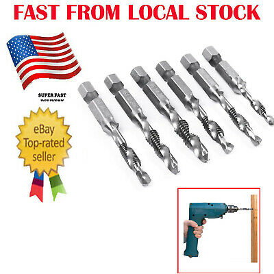 6Pc Drill and Tap Bit Set 2 in 1 Tapping Drilling Hand Tool Kit Ship from -