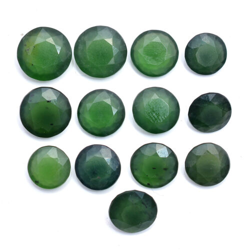 Natural Serpentine 13 Pcs Untreated Round Faceted Cut Loose Gemstones 9mm-12mm