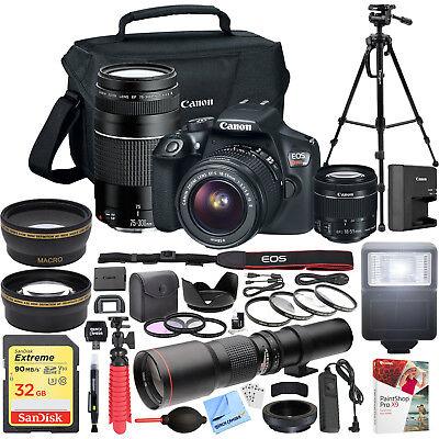 Canon EOS Rebel T6 DSLR Camera w/ 18-55mm IS II + 75-300mm III Dual Lens Pro Kit