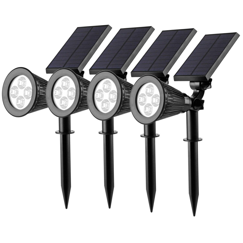 Solar Gartenstrahler mit erdspieß LED Strahler Akku Solarleuchte Außen IP65