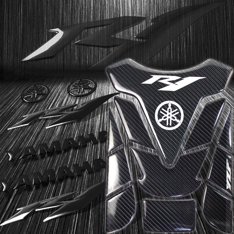 "Real Carbon Fiber Custom Tank Pad+6/"" 3D Logo+for YZF-R1//R1S Emblem Sticker Black"
