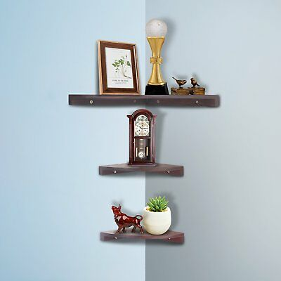 Yankario Walnut Corner Shelves Wall Mounted Set of 3, Floating Wall Shelves for ()