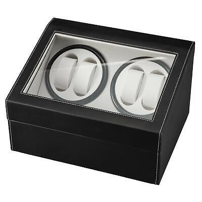 "12"" Leather Watch Winder Storage Auto Display Case Box 4&6 Automatic Rotation"