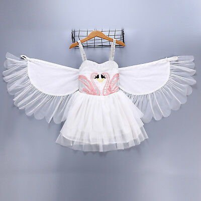 Girls Kids Tutu Dress Flamingo Swan Costume Princess Swan Flower Girl Dresses ZG