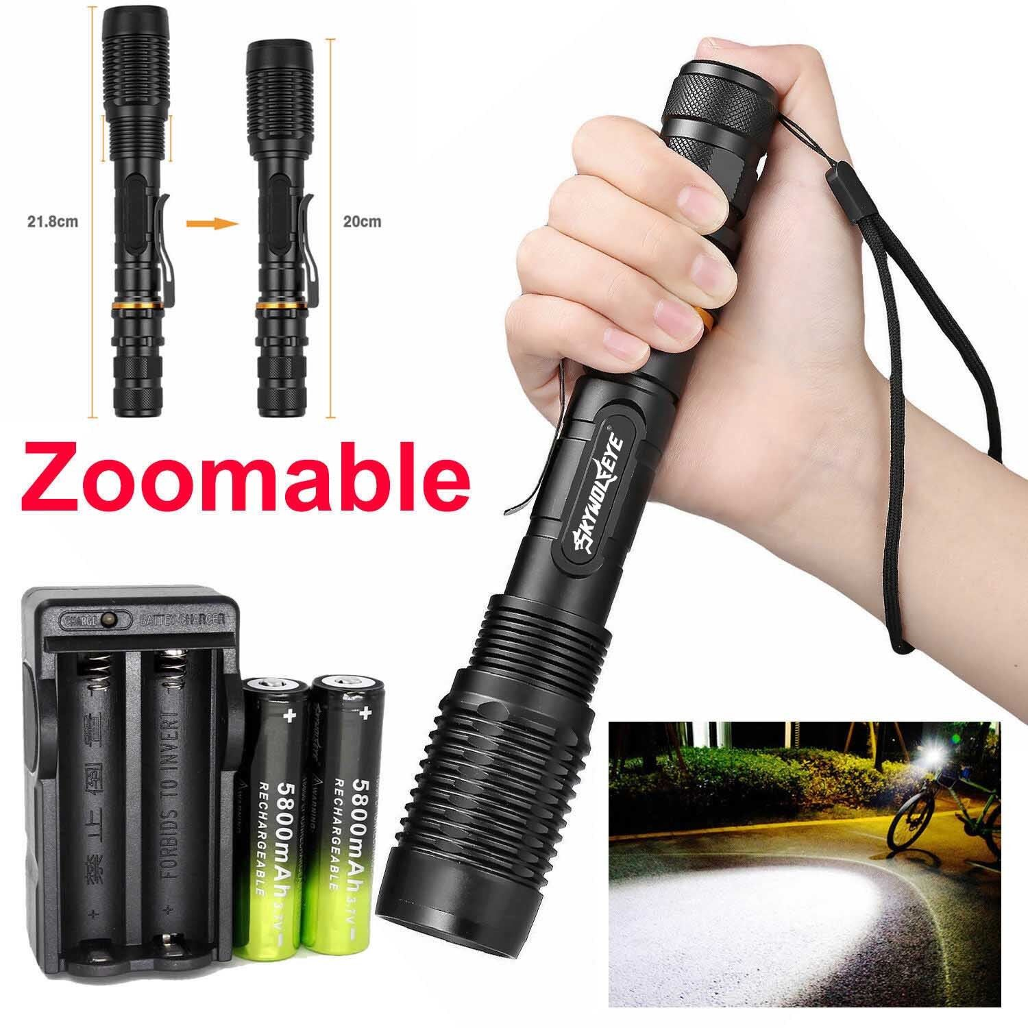 Zoomable 50000 Lumens High Power T6 LED Flashlight Torch 18650 Battery Charger Z