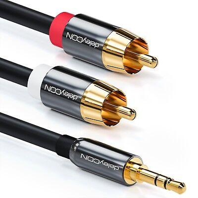 deleyCON PREMIUM HQ Stereo Audio Kabel 3,5mm Stecker zu 2x Cinch Stecker [10m]