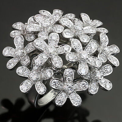 Impressive VAN CLEEF & ARPELS Socrate Diamond 18k White Gold Flower Bouquet Ring