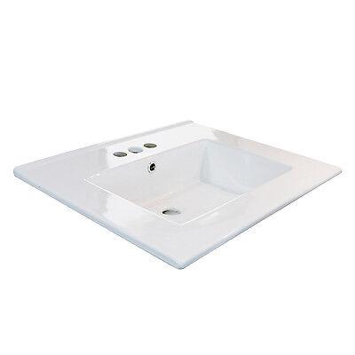 "24"" Bathroom White Ceramic 3 Holes Vessel Sink Drain Drop in Rectangle Overflow"