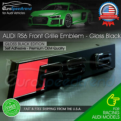 Audi RS6 Front Grill Emblem Gloss Black for RS6 A S6 Hood Grille Badge Nameplate