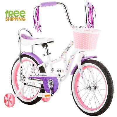 "Schwinn Girl Bike 16"" Pink Child Bycicle Streamers Basket Training Wheels New!"
