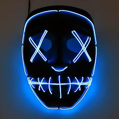LED Kostüm Horror Maske blau Party Halloweenmaske Kostüm Cosplay Purge fasching