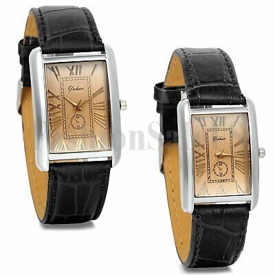 Mens Womens Roman Numerals Square Dial Leather Band Sport Quartz Wrist Watch - Dial Leather Wrist Watch