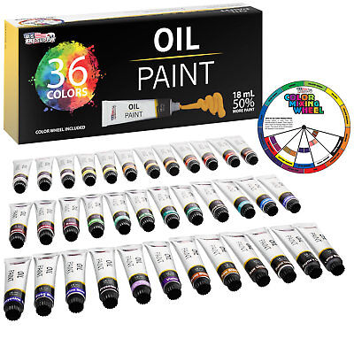 Professional 36 Color Art Oil Paint Set, Lg 18ml Tubes, Arti