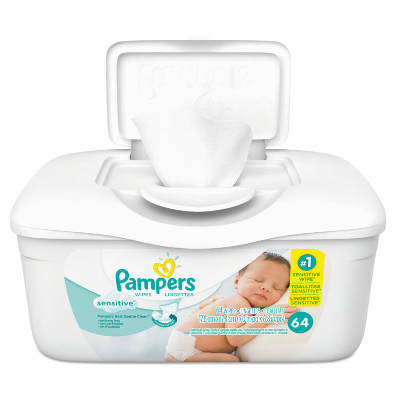 Pampers Sensitive Baby Wipes White Cotton Unscented 64/Tub 19505EA