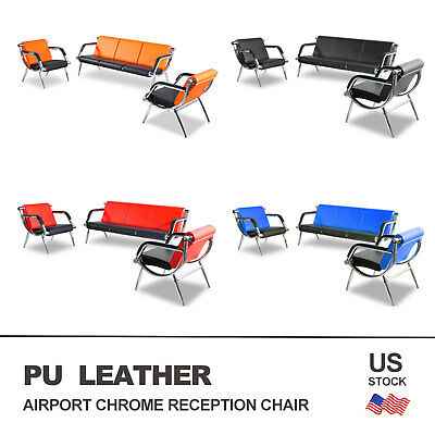 Leather Office Guest Chair - Office Chair Waiting Room Set Reception PU Leather Airport Guest Sofa Modern