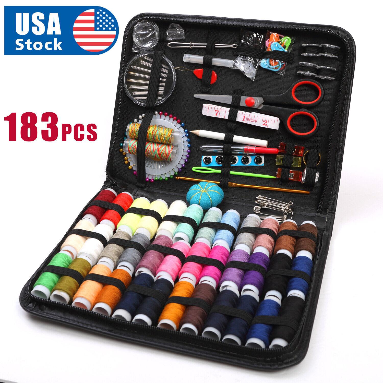 183Pc Sewing Kit Measure Scissor Thimble Thread Needle Storage Box Travel Set Collectibles