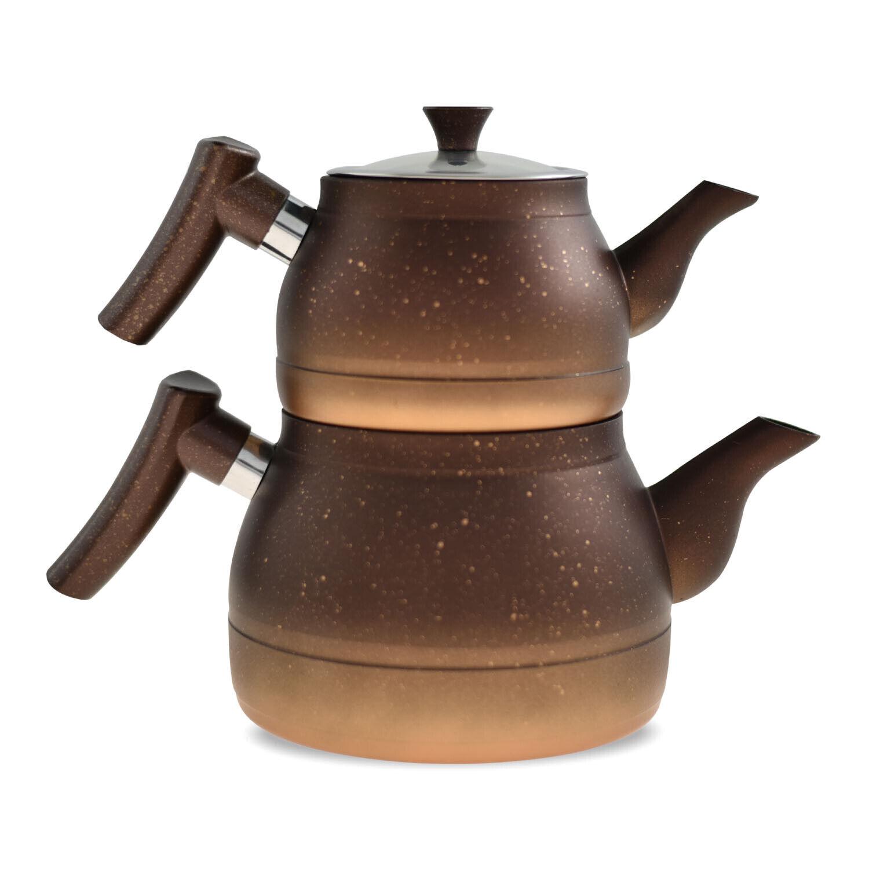 Teekanne Türkisch Granit Optik Aluminium Caydanlik Teekannen Set Tee Kanne Braun