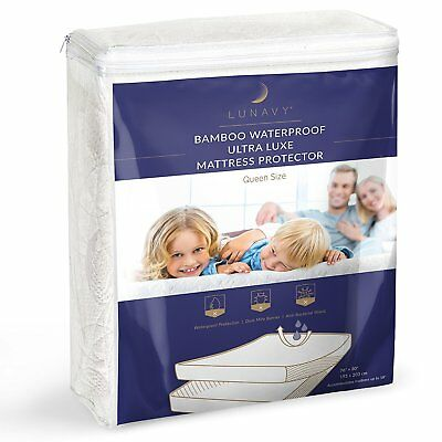 (▶ Premium Bamboo Waterproof Mattress Protector Queen Size Machine Washable Pad)