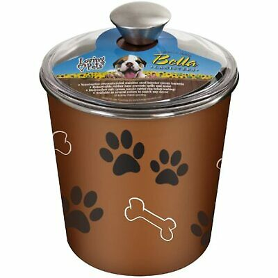Loving Pets Bella Dog Bowl Canister/Treat Container, Copper