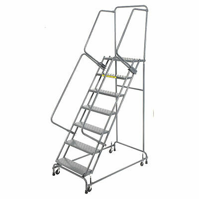 Ballymore Fsh726p Perforated 24w 7 Step Steel Rolling Ladder 14d Top Step