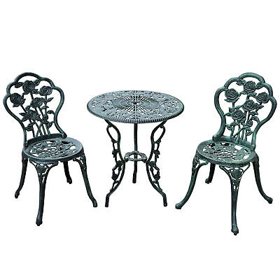 Garden Furniture - 3pc Patio Bistro Furniture Set Outdoor Garden Iron Table Chair Antique Green