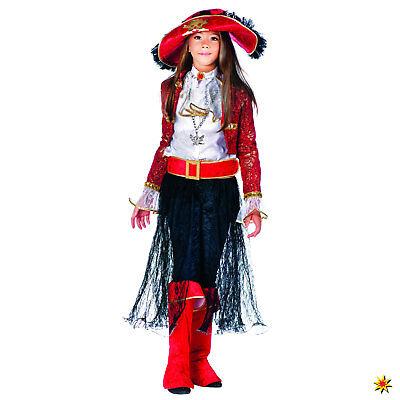 Kinderkostüm Piratenkönigin Mary viel. Zubehör blau rot Gr. 122-140 Piratin Seer