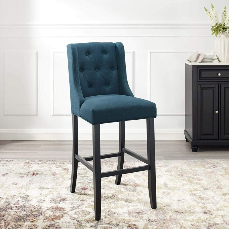 Modway Baronet Tufted Button Faux Leather Bar Stool in Azure