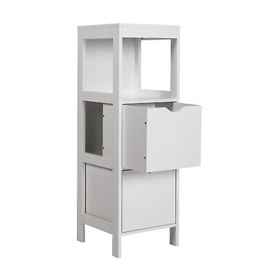 Bathroom White Wooden 3-Tier Floor Cabinet Corner Side Storage w/ 2 Drawers Home