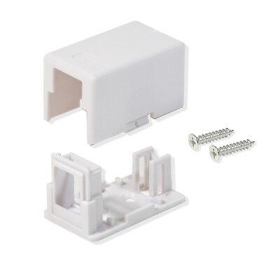 Surface Mount Box 1 Port Single Hole Keystone Jack Cat5e/Cat6 White 10 Pack 1 Port Cat5e Surface Jack