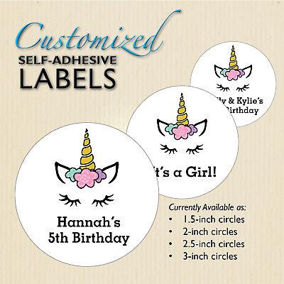 Unicorn Stickers, Birthday Favor Labels, Fantasy Forest Party, Flowers, Custom (Unicorn Flowers)