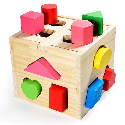 Spielzeug Steckwürfel aus Holz Steckbox Baby Puzzle Steckspiel trainiert Motorik