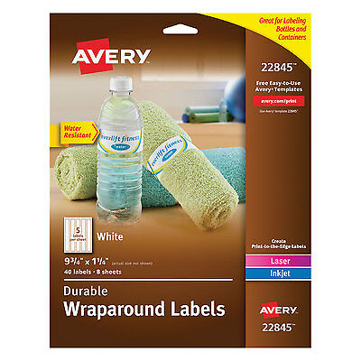 Avery Durable Wraparound Printer Labels 9 34 X 1 14 White 40pack 22845