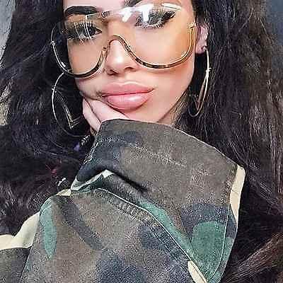 Übergröße Aviator Klar Linse Sonnenbrille Gold Silber Metallrahmen Damen Mode