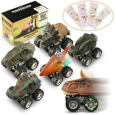 Plastic Cars For Toddlers (Dinosaur Cars 6 Pack Pull Back Vehicle Set Mini Animal Car Toy For Toddlers)