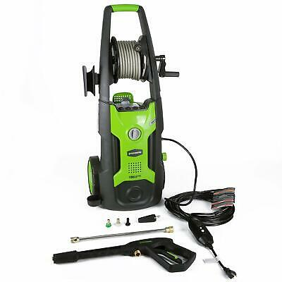 Greenworks Electric High Pressure Washer With 25 Foot Hose Reel Green Used