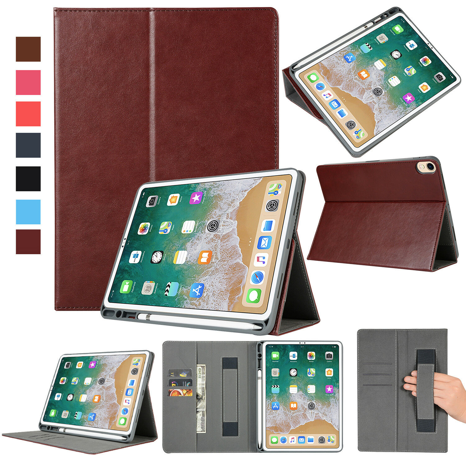Case for Apple iPad Pro 11-Inch 2018 Smart Case Leather Wall