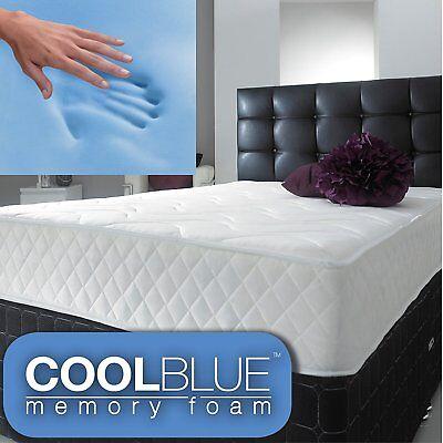 Cool BLUE Memory Foam Mattress Spring 3ft Single 4ft6 Double 5ft King 6ft S King