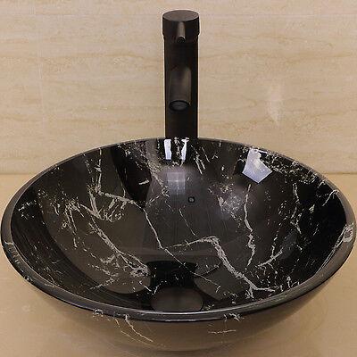 Bathroom Artistic Pane Barque Sink Oil Rubbed Bronze Faucet Pop-up Quaff Combo