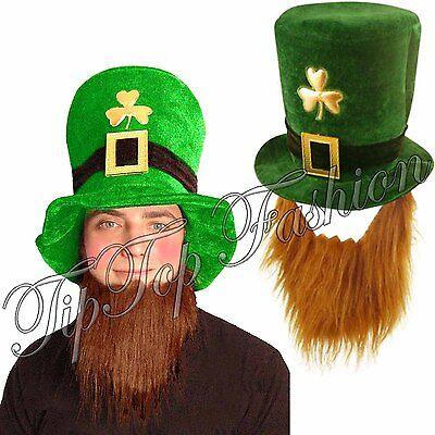 ST PATRICK'S DAY IRELAND WITH GINGER BEARD HAT FANCY DRESS IRISH LEPRECHAUN