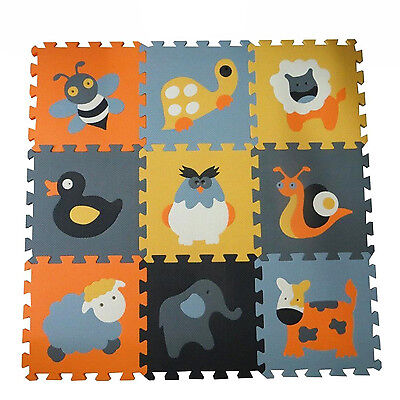 Baby Play Mat Foam Floor Animal Puzzle 9 Tiles Kids Toddler Activity Gym Playmat