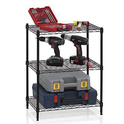 3 Tier Wire Shelving Rack Shelf Unit Garage Kitchen Storage Organizer