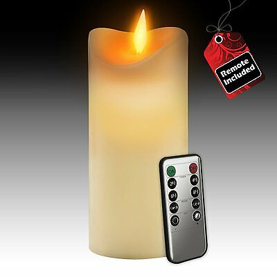 """Gideon 7"""" Real Wax Flickering Flameless LED Candle with Remote On/Off, Vanilla"""