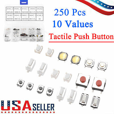 250 Pcs 10 Values Tactile Push Button Micro Switch Tact Assortment Kit With Box