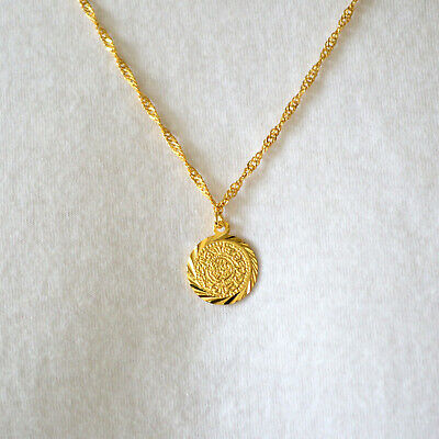 Babylonian Persian Coin Medallion Necklace Pendant Unisex 24k Gold Plated - 15mm 24k Gold Plated Coin