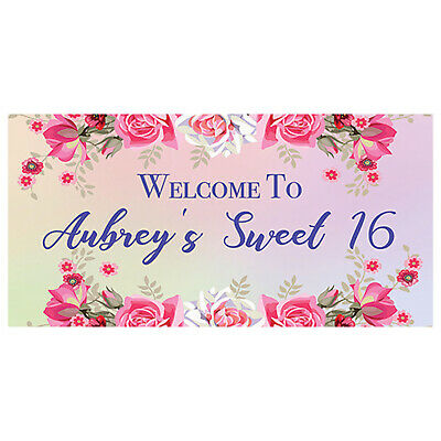 2'x3' Floral Theme Sweet 16 Birthday Party Banner, Sweet 16 Party