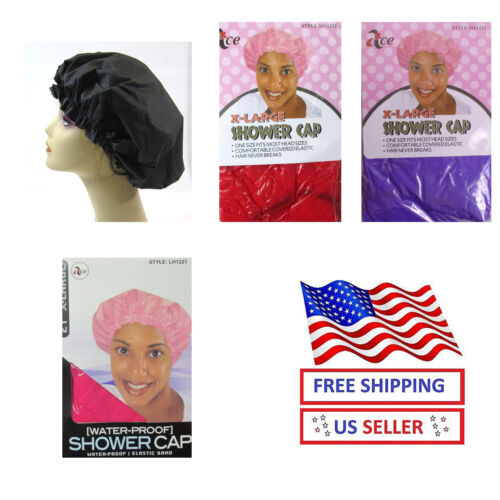 LOT OF 3--REUSABLE,EXTRA LARGE SIZE,SOLID VINYL SHOWER CAP--LH1221