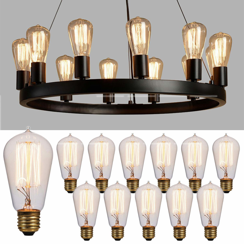 12 Pack Value Vintage Edison Bulb 60 Watt Showroom Quality Incandescent Antique Home & Garden