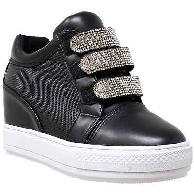 Womens Platform Sneakers  Low Top Rhinestone Hidden Wedge Slip On Shoes Black Rhinestone Platform Shoe
