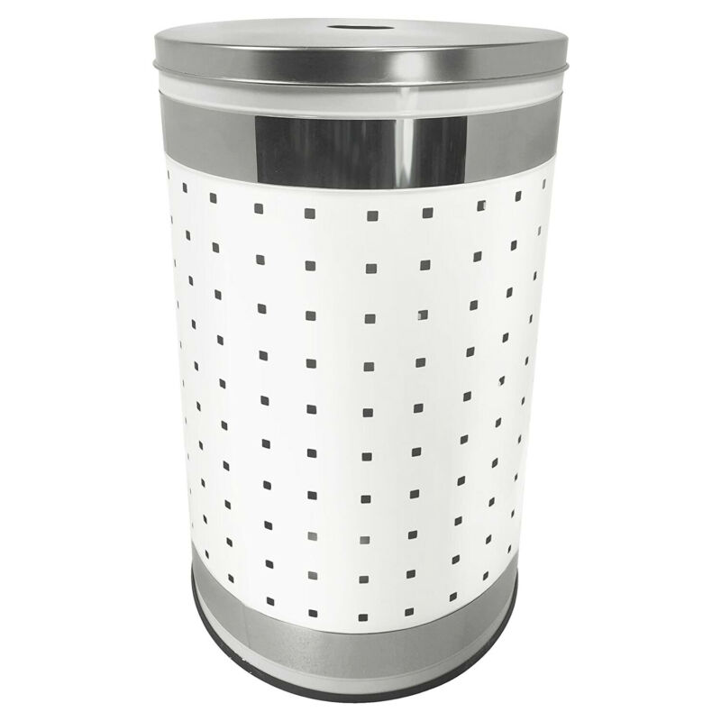 Krugg 50 Liter Stainless Steel Clothes Basket Laundry Hamper with Lid, White